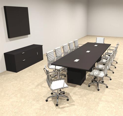 Modern Rectangular Top Cube Leg 12' Feet Conference Table, #OF-CON-CS15