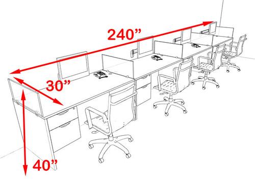 Four Person Modern Divider Office Workstation Desk Set, #OT-SUL-SP72