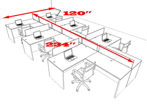Six Person Modern Divider Office Workstation Desk Set, #OT-SUL-SPB77
