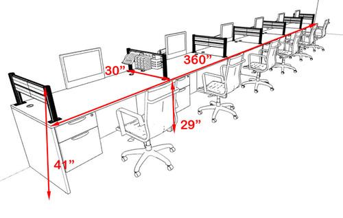 Six Person Modern Divider Office Workstation Desk Set, #OT-SUL-SPW74