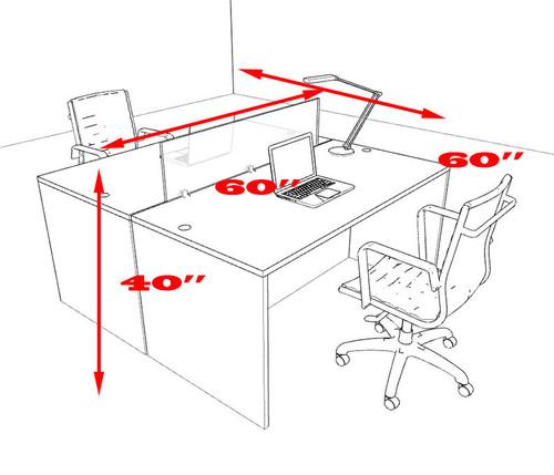 Two Person Modern Accoustic Divider Office Workstation Desk Set, #OT-SUL-FPRA2