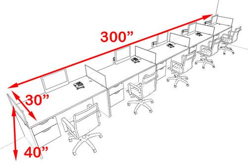 Five Person Modern Accoustic Divider Office Workstation Desk Set, #OT-SUL-SPRG73