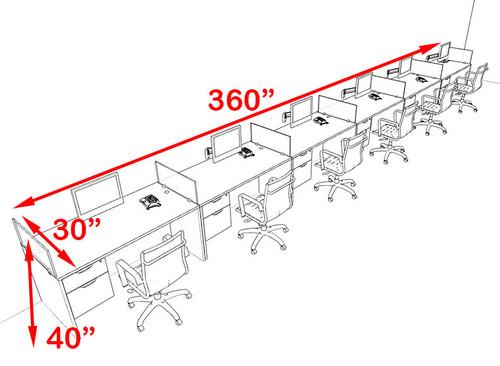 Six Person Modern Accoustic Divider Office Workstation Desk Set, #OT-SUL-SPRG74