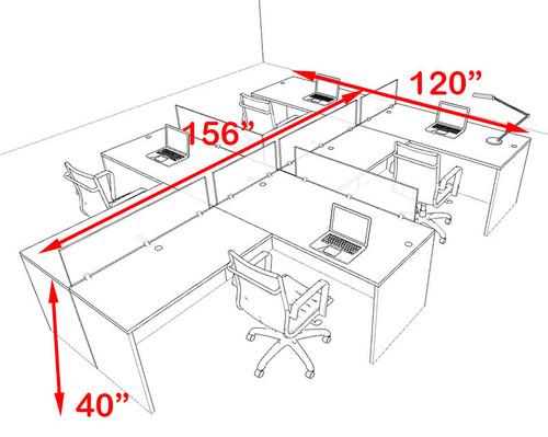 Four Person Modern Accoustic Divider Office Workstation Desk Set, #OT-SUL-SPRG76
