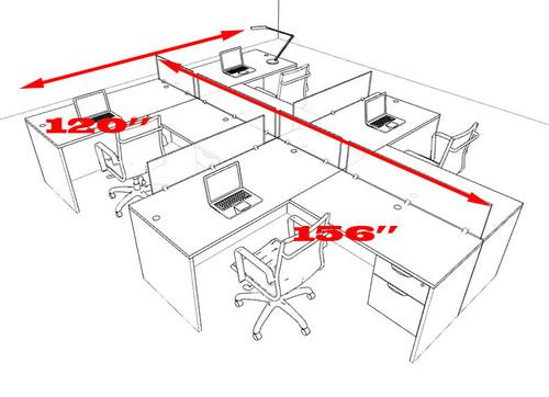 Four Person Modern Accoustic Divider Office Workstation Desk Set, #OT-SUL-SPRG79