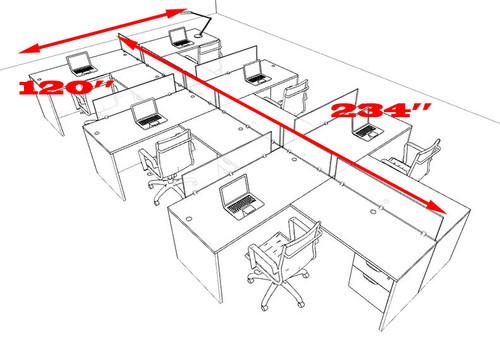 Six Person Modern Accoustic Divider Office Workstation Desk Set, #OT-SUL-SPRG80