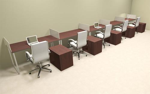 Five Person Modern Acrylic Divider Office Workstation, #AL-OPN-SP100