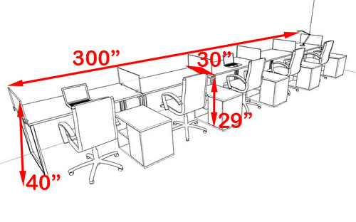 Five Person Modern Acrylic Divider Office Workstation, #AL-OPN-SP102