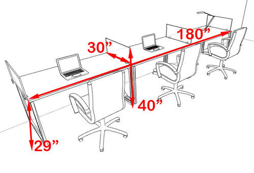 There Person Modern Acrylic Divider Office Workstation, #AL-OPN-SP21