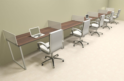 Five Person Modern Acrylic Divider Office Workstation, #AL-OPN-SP39
