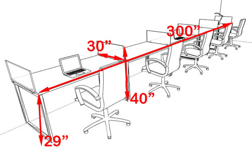 Five Person Modern Acrylic Divider Office Workstation, #AL-OPN-SP39