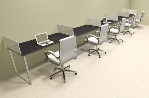 Five Person Modern Acrylic Divider Office Workstation, #AL-OPN-SP42