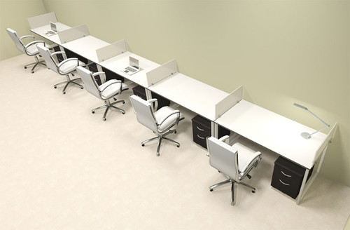Five Person Modern Acrylic Divider Office Workstation, #AL-OPN-SP67