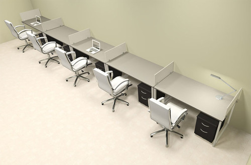 Five Person Modern Acrylic Divider Office Workstation, #AL-OPN-SP68