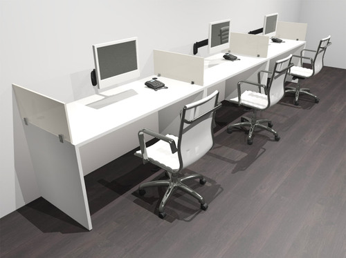 Three Person Modern Acrylic Divider Office Workstation Desk Set, #OF-CPN-SP5