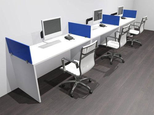 Three Person Modern Acrylic Divider Office Workstation Desk Set, #OF-CPN-SPB5