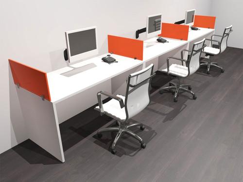 Three Person Modern Acrylic Divider Office Workstation Desk Set, #OF-CPN-SPO5