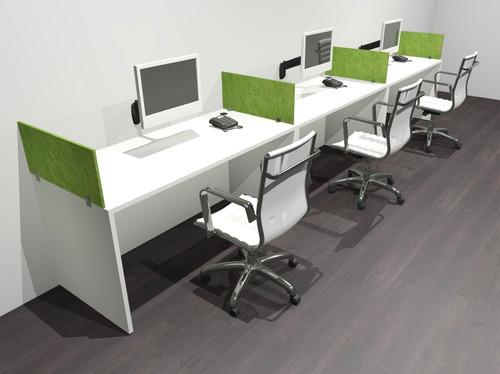 Three Person Modern Accoustic Divider Office Workstation Desk Set, #OF-CPN-SPRA5