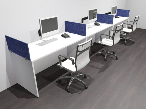 Three Person Modern Accoustic Divider Office Workstation Desk Set, #OF-CPN-SPRB5