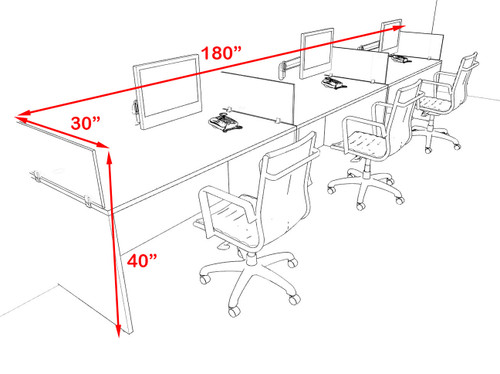Three Person Modern Accoustic Divider Office Workstation Desk Set, #OF-CPN-SPRG5