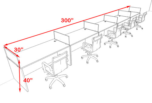 Five Person Modern Acrylic Divider Office Workstation Desk Set, #OF-CPN-SPO13
