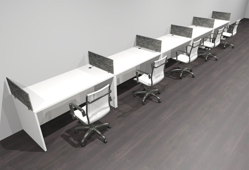 Five Person Modern Accoustic Divider Office Workstation Desk Set, #OF-CPN-SPRG13