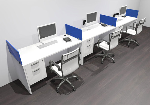 Three Person Modern Acrylic Divider Office Workstation Desk Set, #OF-CPN-SPB25