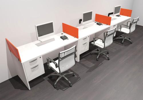 Three Person Modern Acrylic Divider Office Workstation Desk Set, #OF-CPN-SPO25