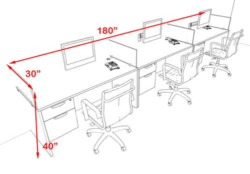 Three Person Modern Accoustic Divider Office Workstation Desk Set, #OF-CPN-SPRA25