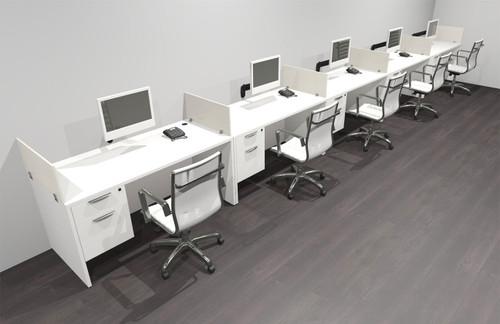 Five Person Modern Acrylic Divider Office Workstation Desk Set, #OF-CPN-SP33
