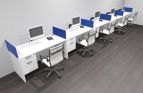 Five Person Modern Acrylic Divider Office Workstation Desk Set, #OF-CPN-SPB33
