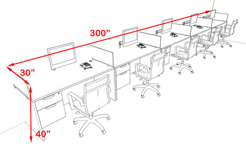 Five Person Modern Acrylic Divider Office Workstation Desk Set, #OF-CPN-SPO33