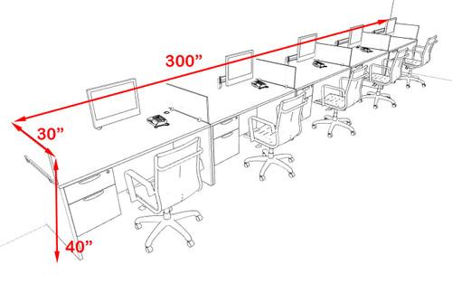 Five Person Modern Accoustic Divider Office Workstation Desk Set, #OF-CPN-SPRB33