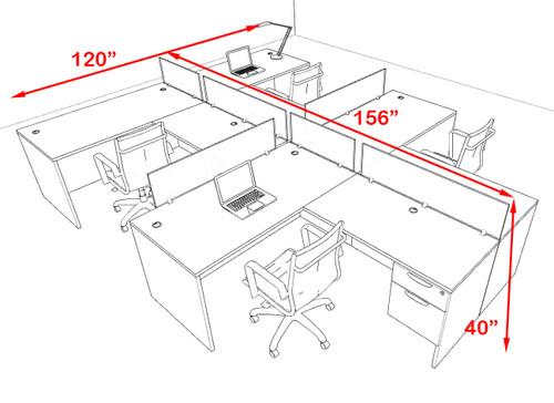 Four Person Modern Accoustic Divider Office Workstation Desk Set, #OF-CPN-SPRB57