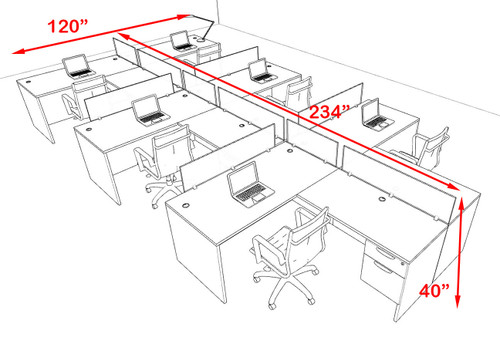Six Person Modern Acrylic Divider Office Workstation Desk Set, #OF-CPN-SP61