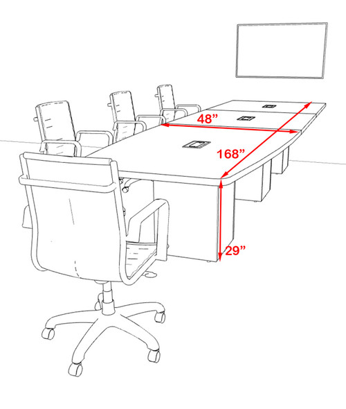 Boat 14' Feet Zoom Duo Facetime Video Conference Table, #OF-CON-CQP28