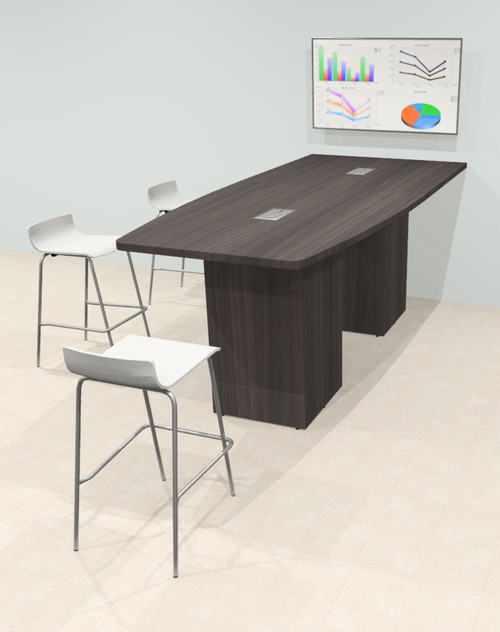 Counter Height Boat 9' Feet Zoom Duo Facetime Video Conference Table, #OF-CON-CTP16