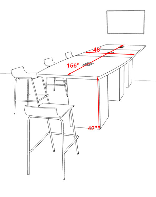 Counter Height Boat 14' Feet Zoom Duo Facetime Video Conference Table, #OF-CON-CTP34