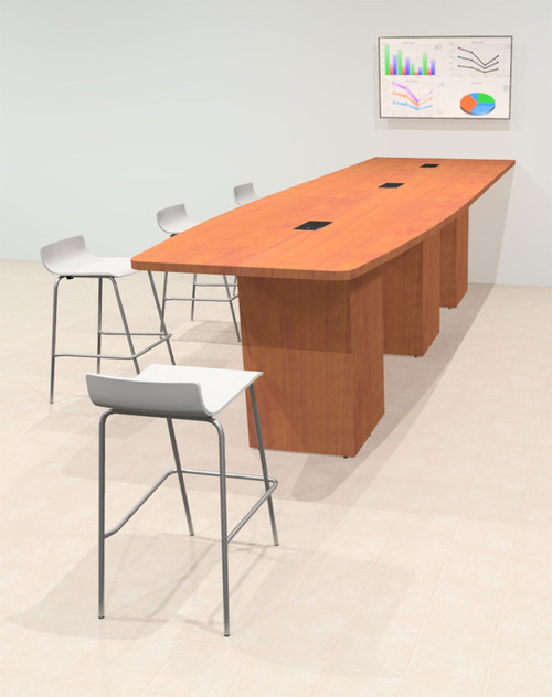 Counter Height Boat 14' Feet Zoom Duo Facetime Video Conference Table, #OF-CON-CTP35