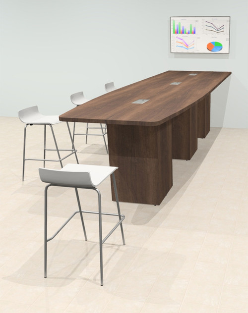 Counter Height Boat 14' Feet Zoom Duo Facetime Video Conference Table, #OF-CON-CTP36