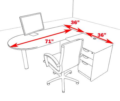 3pc L Shape Modern Executive Office Desk, #OT-SUL-L53
