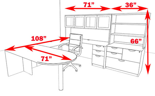 7pc U Shape Modern Executive Office Desk, #OT-SUL-U65