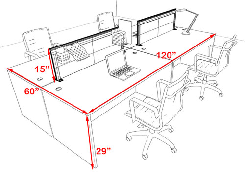 Four Person Modern Aluminum Organizer Divider Office Workstation Desk Set, #OT-SUL-FPS6