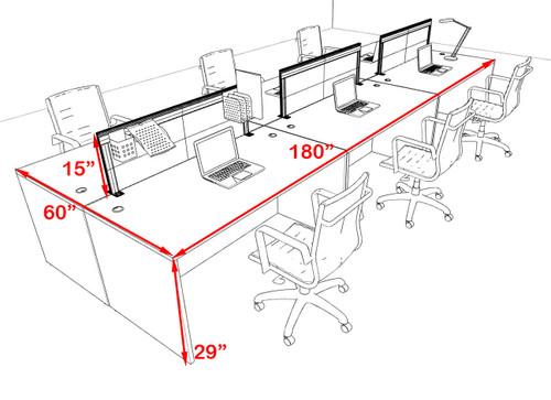Six Person Modern Aluminum Organizer Divider Office Workstation Desk Set, #OT-SUL-FPS12