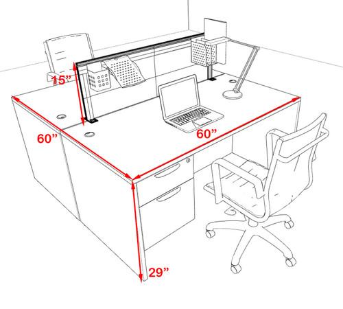 Two Person Modern Aluminum Organizer Divider Office Workstation Desk Set, #OT-SUL-FPS14