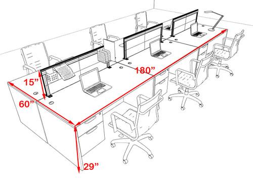 Six Person Modern Aluminum Organizer Divider Office Workstation Desk Set, #OT-SUL-FPS21