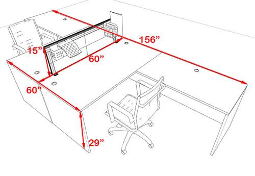 Two Person L Shape Modern Aluminum Organizer Divider Office Workstation Desk Set, #OT-SUL-FPS28
