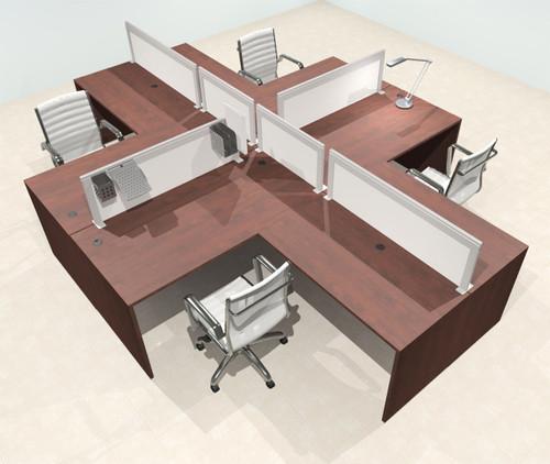 Four Person L Shape Modern Aluminum Organizer Divider Office Workstation Desk Set, #OT-SUL-FPS30