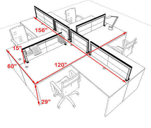 Four Person L Shape Modern Aluminum Organizer Divider Office Workstation Desk Set, #OT-SUL-FPS30