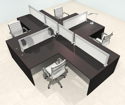 Four Person L Shape Modern Aluminum Organizer Divider Office Workstation Desk Set, #OT-SUL-FPS32